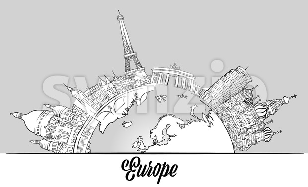 European Sketched Landmarks on Globe Stock Vector