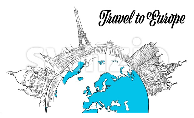 Sketched Landmarks Europe and Globe Stock Vector