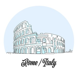Rome Italy Landmark Sketch Stock Vector