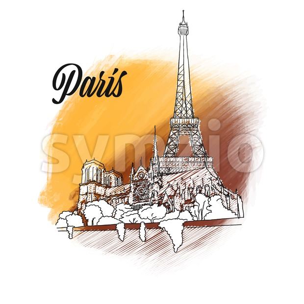 Paris Landmark Sign. hand drawn outline illustration for print design and travel marketing