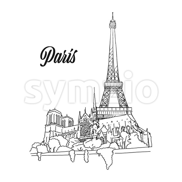 Paris Landmark Banner Sign Stock Vector