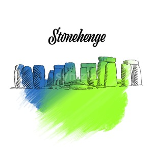 Stonehenge England Sketch Stock Vector