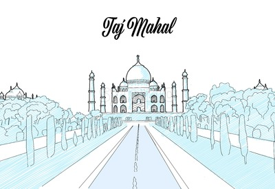 Taj Mahal Travel Sketch Stock Vector