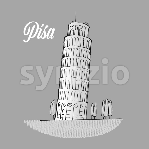 Pisa Tower Sketch Stock Vector