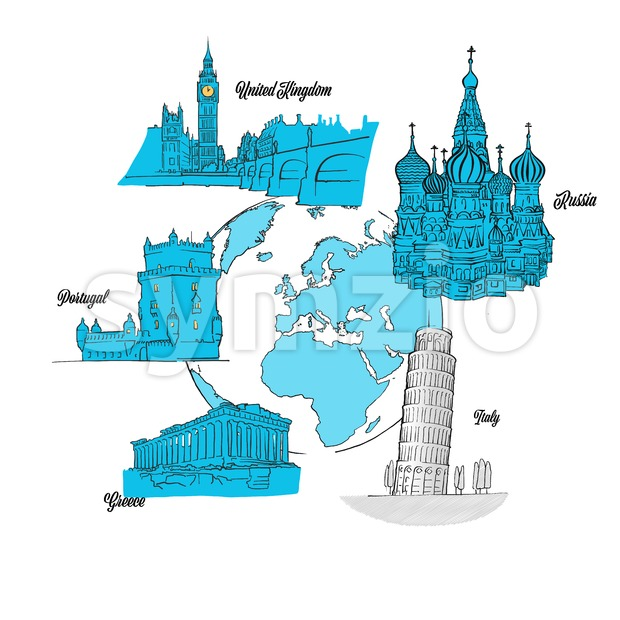 Europe Travel Landmarks on Globe Stock Vector