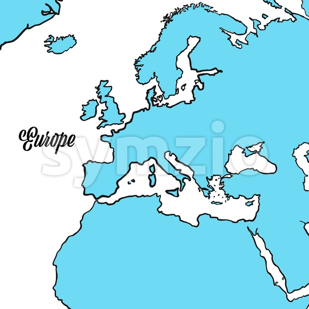 Europe Map Outline Design Stock Vector