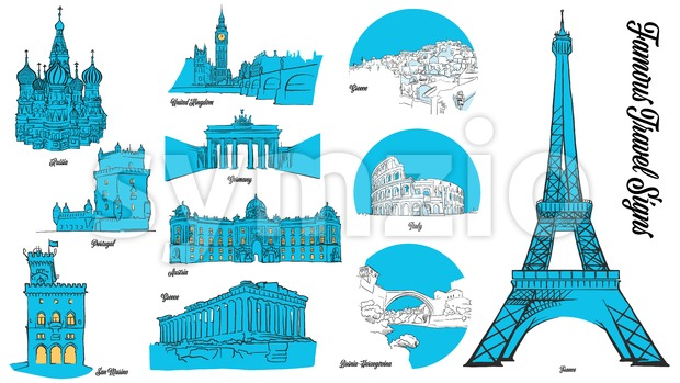 European Travel Landmarks Set. Hand drawn outline illustration for print design and travel marketing