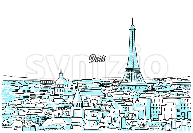 Paris Cityscape Sketch Stock Vector