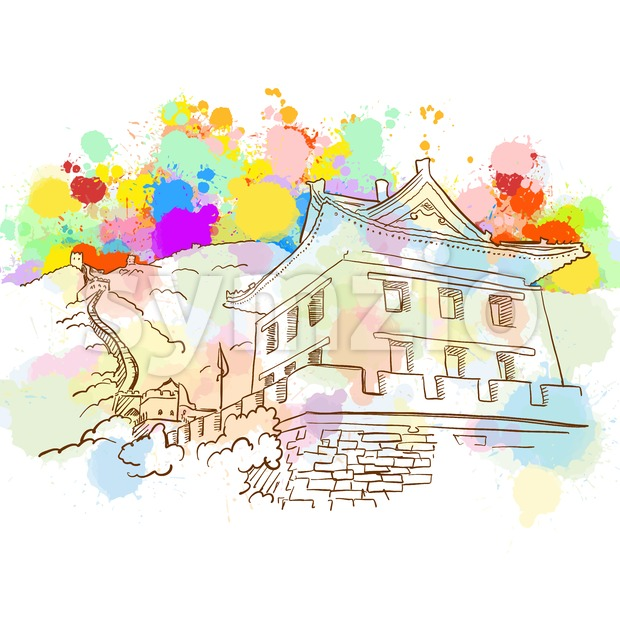Colorful Great Wall Sketch Stock Vector