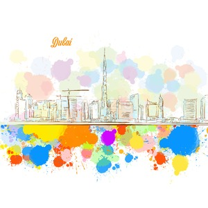 Colorful Dubai City Skyline Stock Vector