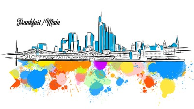 Colorful Frankfurt Main Cityscape Banner Stock Vector