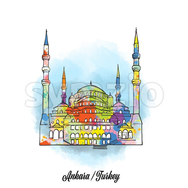 Colorful ankara mosque sign. Hand Drawn Vector Illustration, Paint Splatter Color Isolated on White Background. Business Travel and Tourism Concept ...