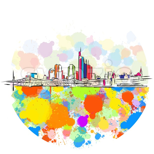 Colorful Frankfurt Skyline Sketch Stock Vector