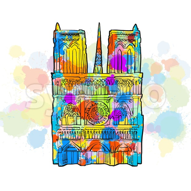 Notre Dame Colorful Sketch Stock Vector