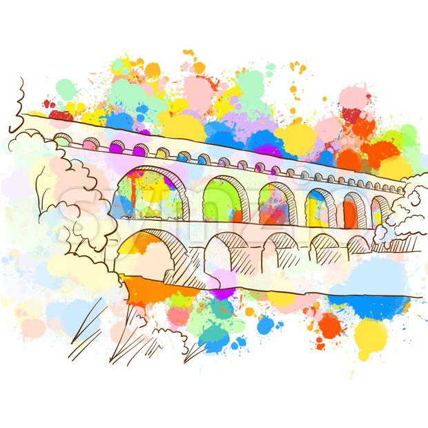 Colorful Pont du Gard Sketch. Hand Drawn Vector Illustration, Paint Splatter Color Isolated on White Background. Business Travel and Tourism ...