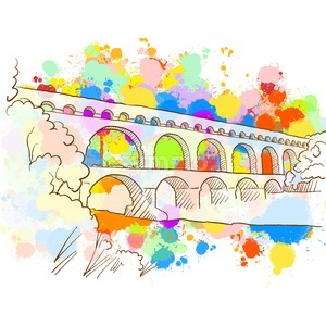 Colorful Pont du Gard Sketch Stock Vector