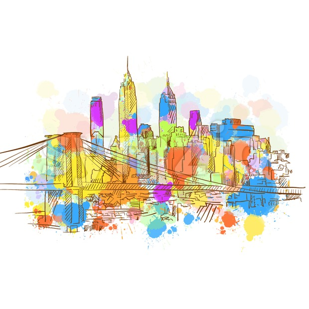 Colorful New York Metropolis Sketch. Hand Drawn Vector Illustration, Paint Splatter Color Isolated on White Background. Business Travel and Tourism ...