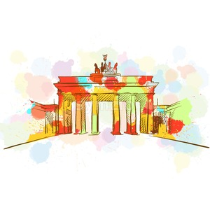 Colorful Brandenburg Gate Sketch Stock Vector