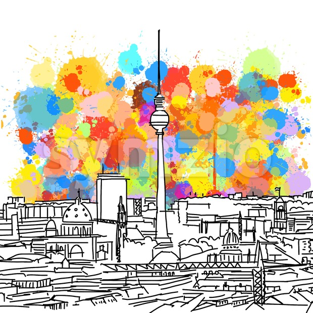 Colorful Berlin Skyline Sketch Stock Vector