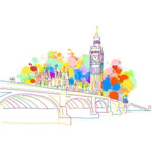 Colorful Landmark Sketch of London Stock Vector