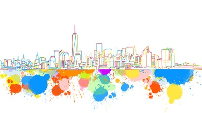 Colorful New York Skyline Sketch Stock Vector