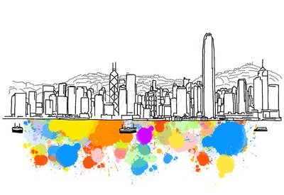Colorful Hong Kong Skyline Sketch Stock Vector