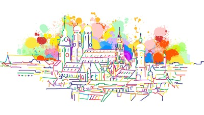 Colorful Munich Skyline Sketch Stock Vector