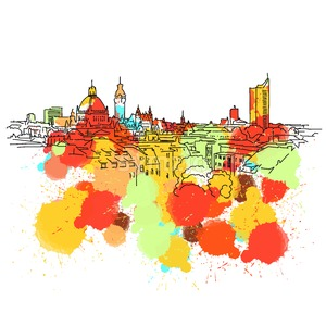 Colorful Leipzig Skyline Sketch Stock Vector