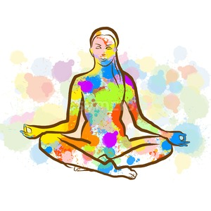 Colorful Siddhasana Yopa Pose Stock Vector