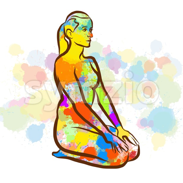 Colorful Thunderbolt Vajrasana Yoga Pose Stock Vector