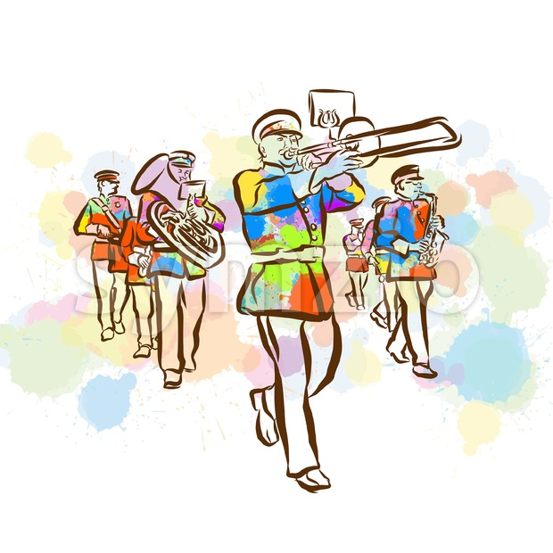 Colorful Marching Band Sketch Stock Vector