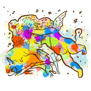 Colorful Vintage Angel Sketch Stock Vector