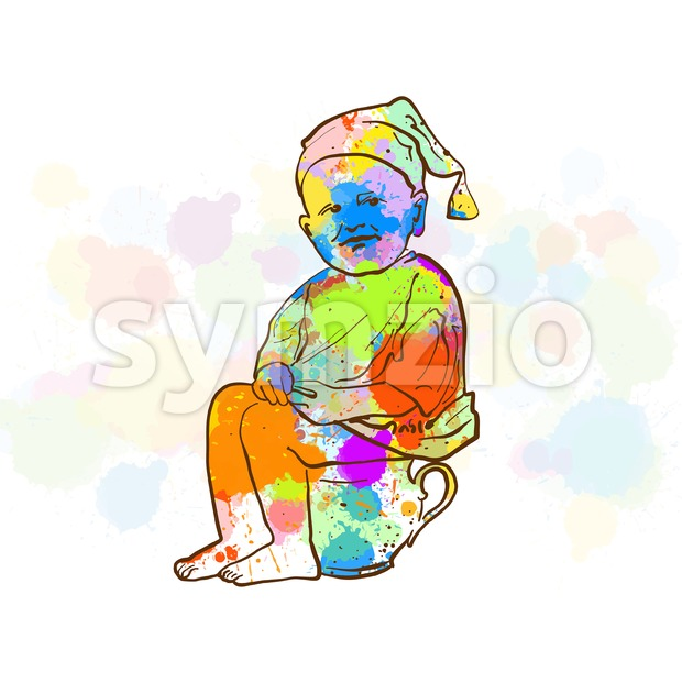 Colorful Vintage Toilet Male Sketch. Hand Drawn Vector Illustration, Splatter Color Isolated on White Background. Creative  Communication Concept.
