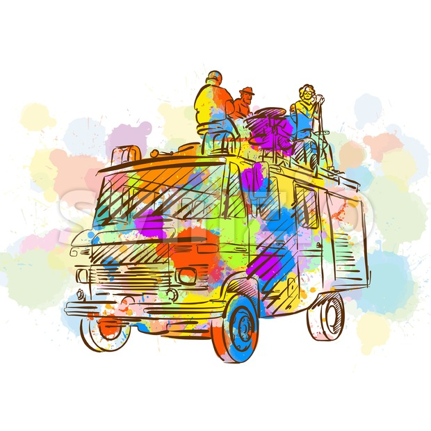 Colorful Band Open Air Truck Stock Vector