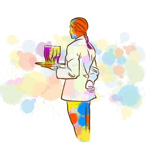 Colorful Waitress Sketch Stock Vector