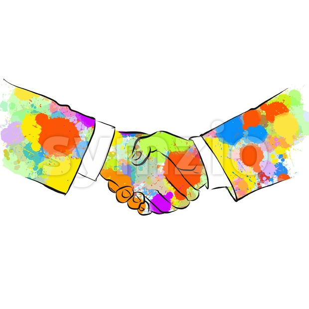 Colorful Business Handshake Sketch. Hand Drawn Vector Illustration, Splatter Color Isolated on White Background. Creative  Communication Concept.