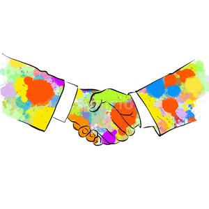 Colorful Business Handshake Sketch Stock Vector
