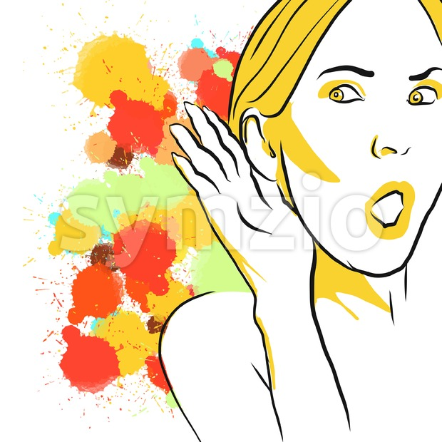 Colorful Gossip Listening Sketch Stock Vector