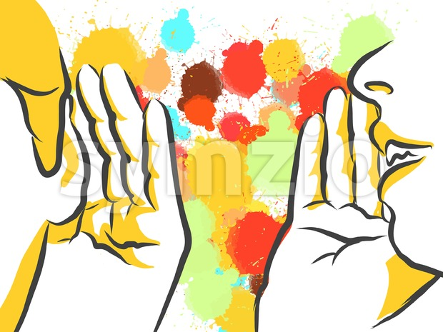 Colorful Gossip Hands Sketch Stock Vector