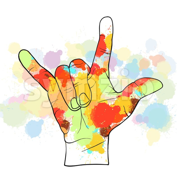 Colorful devil horn hand. Hand Drawn Vector Illustration, Splatter Color Isolated on White Background. Creative  Communication Concept.