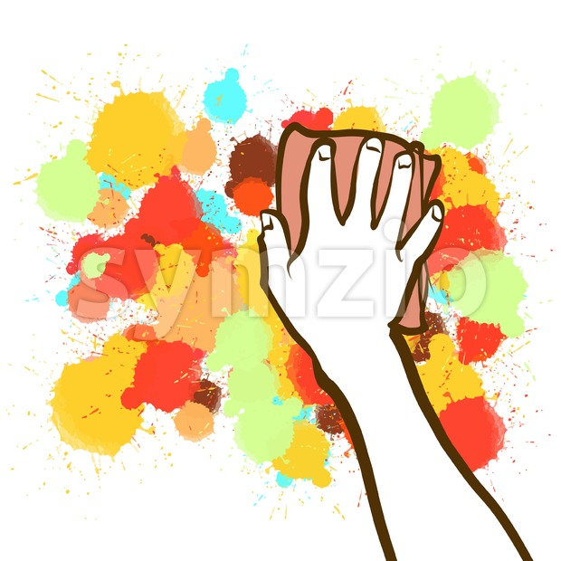 Colorful sponge hand blackboard sketch Stock Vector