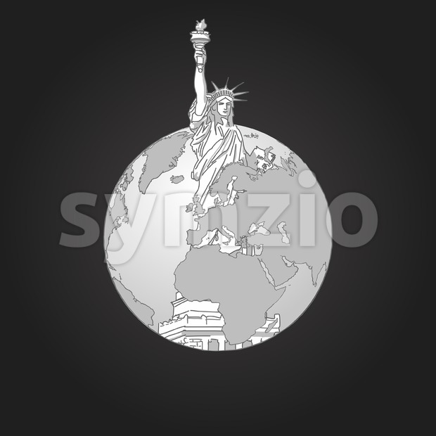 Liberty Statue and Earth. Concept Design. Stock Vector