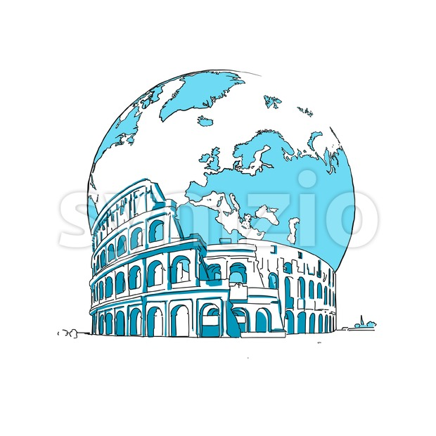 Coliseum and Earth. Concept Design. Stock Vector