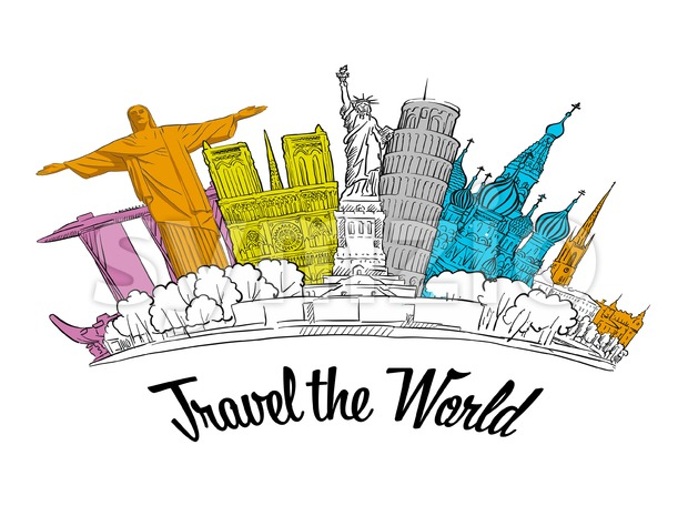 Travel the World. Road trip. Tourism sketch concept with landmarks. Travelling vector illustration. Hand-drawn modern illustration.