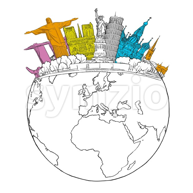 Travel to World Landmarks on Globe Stock Vector