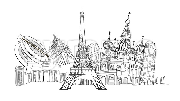 Travel to Europe Landmarks Stock Vector