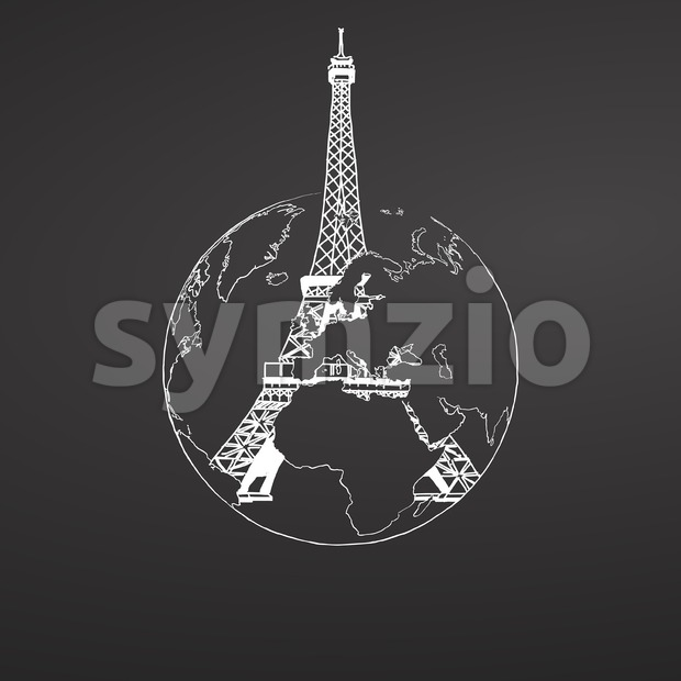 Eiffel Tower and Globe Sketch on Chalkboard Stock Vector