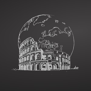 Coliseum and Earth. Sketch on Chalkboard. Stock Vector