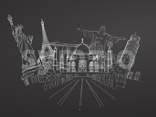 Travel to World. Sketch on Chalkboard. Road trip. Tourism sketch concept with landmarks. Travelling vector illustration. Hand-drawn modern design.