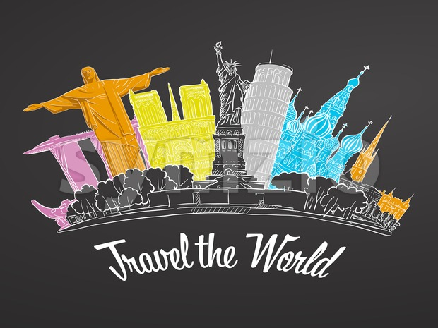 Travel the World Landmarks on Chalkboard. Tourism sketch concept with landmarks. Travelling vector illustration. Hand-drawn modern design.